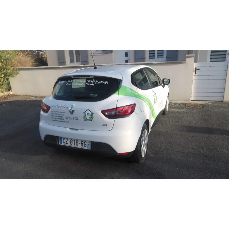Marquage publicitaire sur voiture Clio